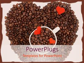 Colorful presentation theme having coffee beans making heart shape with a cup in the middle