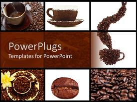Slide deck featuring coffee collage in brown and white with cups, coffee beans, white flower
