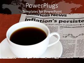 PPT theme consisting of coffee cup on business section of newspaper