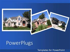 PPT layouts enhanced with collage of beautiful houses on blue background