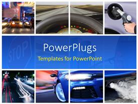 Audience pleasing PPT layouts featuring collage of car interior details and transport attributes