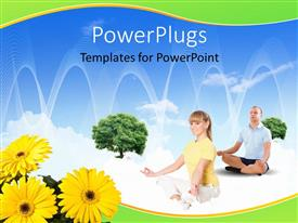 Beautiful PPT theme with collage with children and parents with flowers in foreground and blue sky