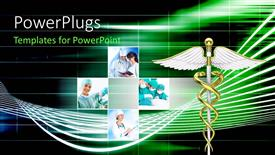 Colorful PPT theme having collage with doctors discussing issues or operating patient with medical symbol in foreground