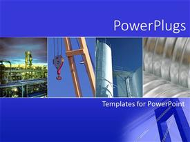 Amazing slide set consisting of collage with four depictions of various industries, industrial business, factory, chemical plant