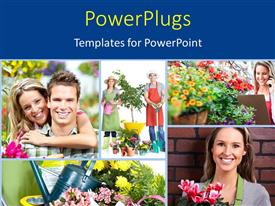 PPT theme featuring collage of garden workers with people carrying flowers and watering can