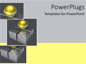 Beautiful slide set with collage of glowing golden sphere on four boxes