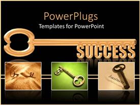 Audience pleasing presentation theme featuring collage of gold keys with gold success skeleton key on black background