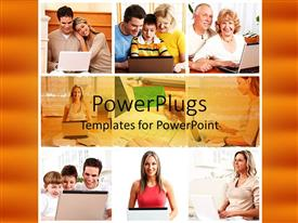 PPT layouts enhanced with collage of happy people working on laptop