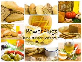 PPT layouts enhanced with collage of healthy food, bread, tea and milk