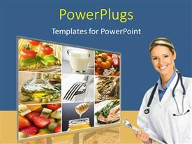 PPT theme enhanced with collage of healthy food and vegetables with medical doctor smiling