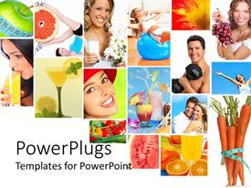 Beautiful PPT theme with collage of healthy lifestyle with healthy nutrition diet and fitness fruits vegetables fresh juice measuring tape