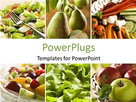 Presentation featuring collage of a healthy vegetables and fruit food