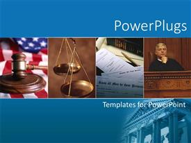Colorful PPT layouts having collage of law depictions with weighting balance, and judge