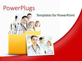 Presentation design with collage of medical doctors in yellow folder over white and red background