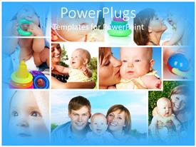 Colorful presentation design having collage of mother, father, baby, playing, smiling