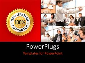 PPT theme consisting of collage of office workers with 100% satisfaction guarantee label