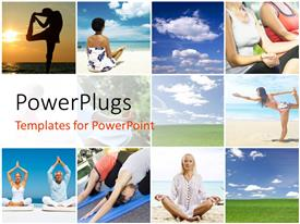 Slide deck with collage of people doing yoga and blue cloudy sky