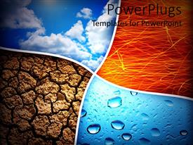 Audience pleasing PPT theme featuring collage representing the four nature elements, air, fire, earth and water