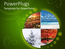 Amazing PPT theme consisting of collage showing the four climatic seasons in green background