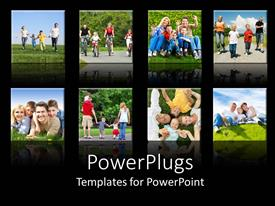 PPT theme featuring collage of smiling families doing different activities with black background