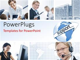 PPT theme featuring collage of support agents and office workers with skyscrapers