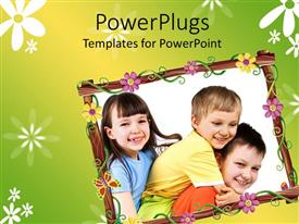 PPT theme enhanced with collage of three little kids with flowered frame on green background
