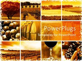 Amazing slide set consisting of collage of twelve icons depicting various trees, fields, grapes, winery, and wine related things on rusty yellow background