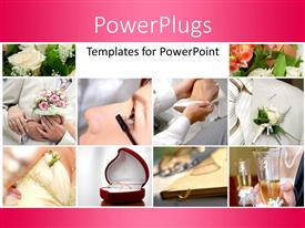 Slides featuring collage of wedding depictions with flower bouquet and wedding ring