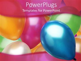 Elegant presentation theme enhanced with a collection of balloons in different colors with place for text on the top