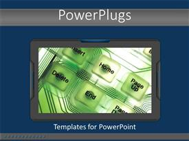 Presentation consisting of a collection of buttons with bluish background