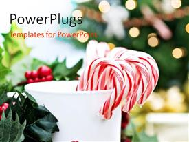 Presentation theme featuring a collection of candy canes in a marble storage