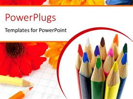PPT theme having a collection of color pecils with flowers in the background