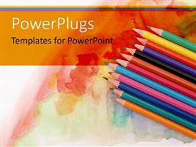 Beautiful PPT theme with a collection of color pencils with multi-colored background