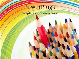 Elegant presentation theme enhanced with a collection of color pencils with multicolored background