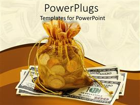 Elegant presentation theme enhanced with a collection of dollars along with a bag full of coins