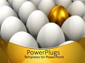 PPT theme consisting of a collection of eggs with a golden one in the middle