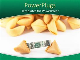 PPT layouts consisting of a collection of fortune cookie with dollar note