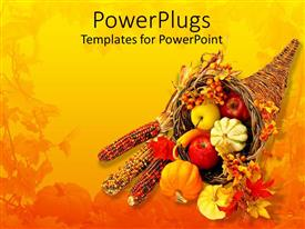 PPT theme with a collection of fruits in a basket along with beads with flowers in the background