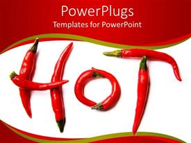 Beautiful presentation theme with a collection of red chili peppers making the word hot