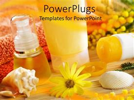 Elegant PPT theme enhanced with a collection of spa products with blurred background