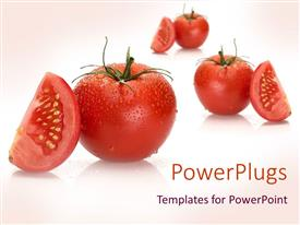 Elegant PPT theme enhanced with a collection of tomatoes and their pieces with pinkish background