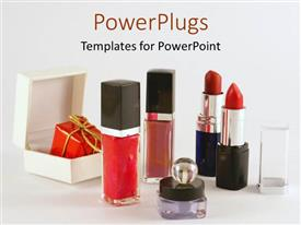 Theme having a collection of the variety of makeup together with place for text