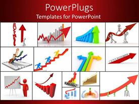 Slide set enhanced with a collection of various business concepts in from of graphics