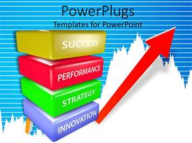 Presentation theme enhanced with a collection of various parts of a plan leading towards success in the end