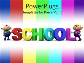 Presentation having color bars with colored 3D word with kids standing by