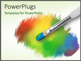 Colorful PPT theme having color  palette having a paint brush with rainbow colors