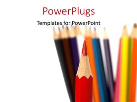 Audience pleasing presentation theme featuring a number of color pencils with white background