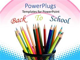Beautiful presentation theme with color pencils in pencil holder with Back To School in background