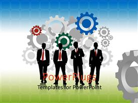 Presentation enhanced with colored 2D gears with business men on green surface