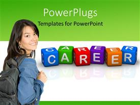 Elegant presentation theme enhanced with colored 3D cubes forming word CAREER with young lady carrying backpack